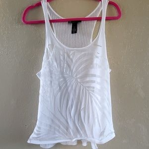 Lane Bryant 18/20 white sheer leaf tank top shirt